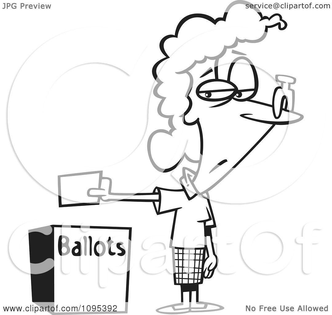 Clipart Black And White Outline Cartoon Female Voter With