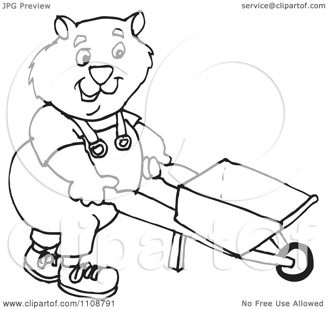 Clipart Black And White Outlined Wombat Pushing A