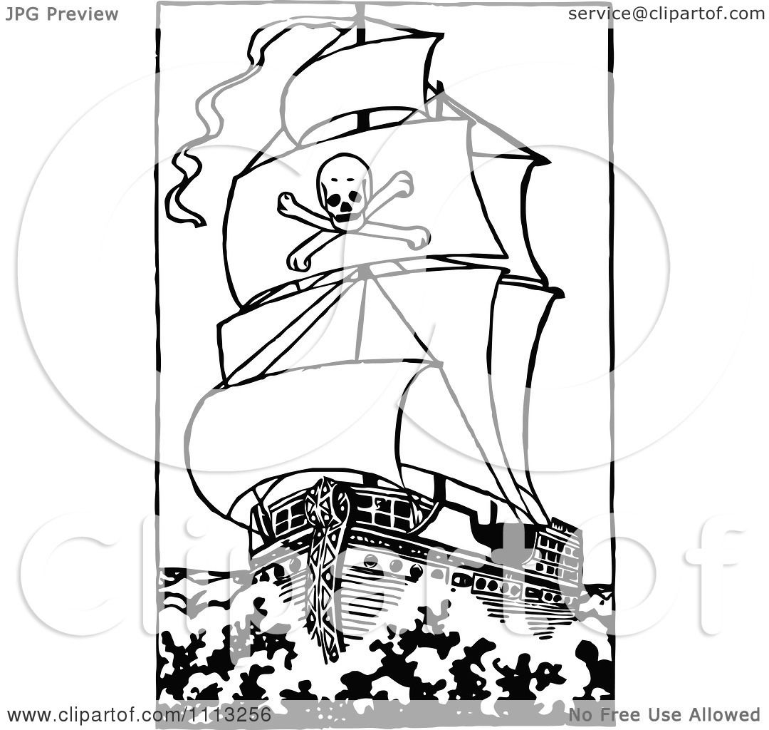Clipart Black And White Pirate Ship 2