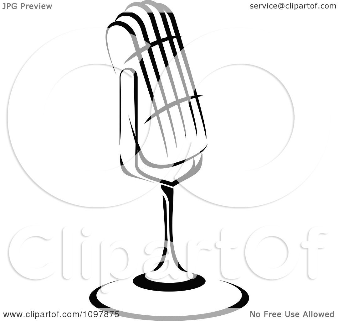 Clipart Black And White Retro Radio Desk Microphone 2