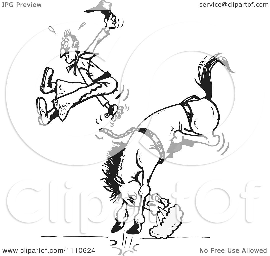 Clipart Black And White Rodeo Cowboy Being Bucked Off Of A