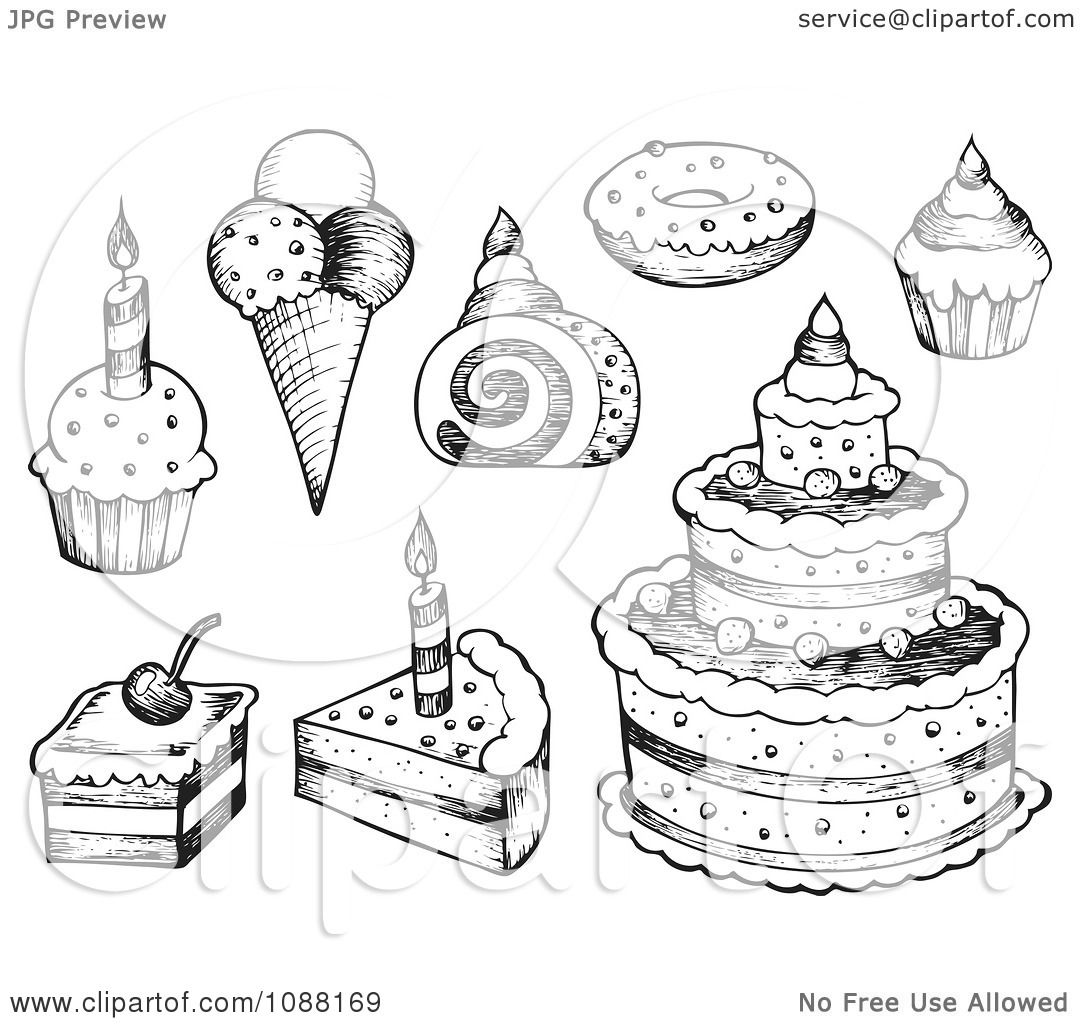 Clipart Black And White Sketched Birthday Cakes Ice Cream