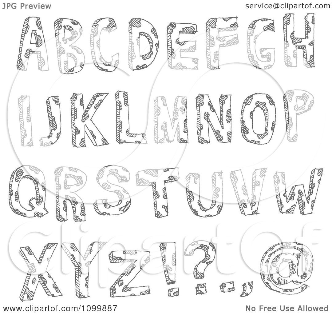 Clipart Black And White Sketched Capital Letters With