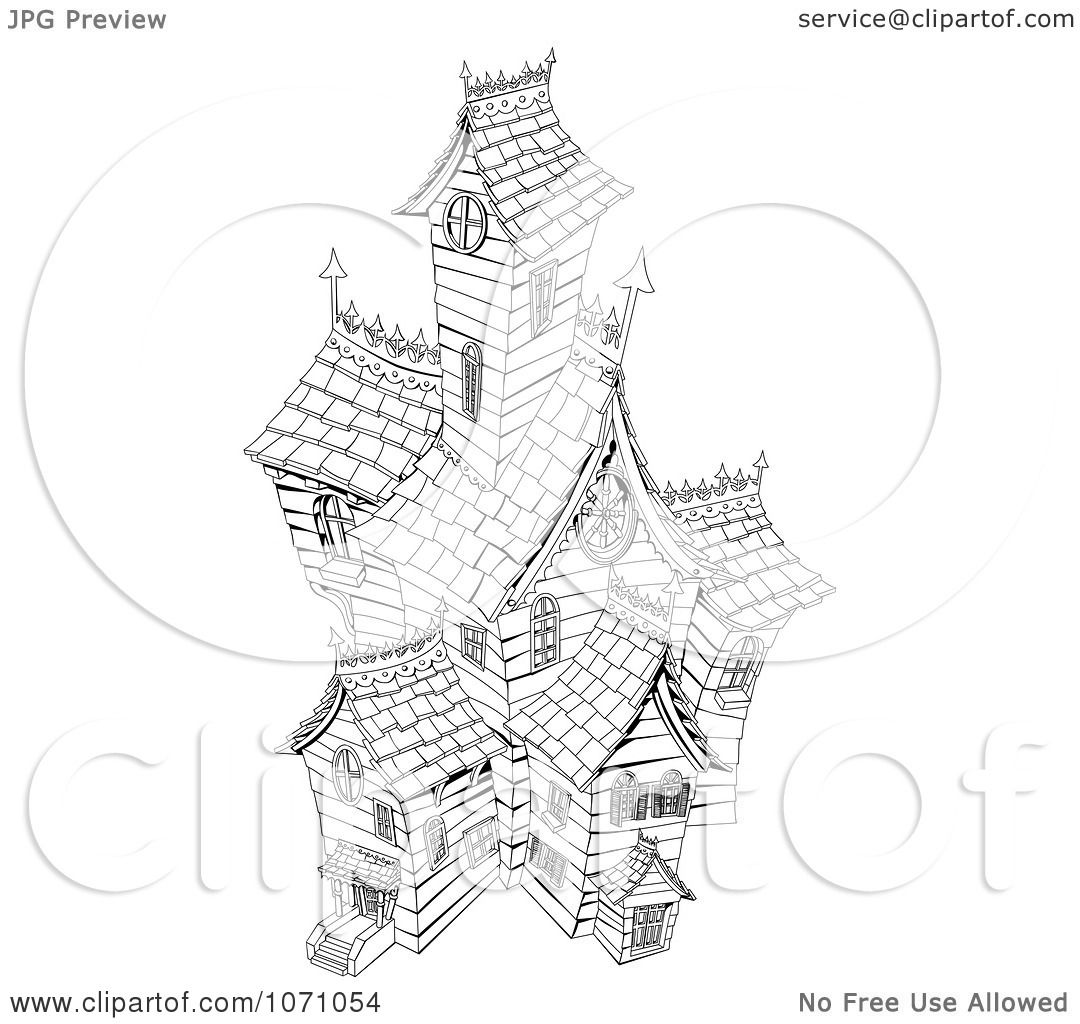 Clipart Black And White Sketched Haunted House
