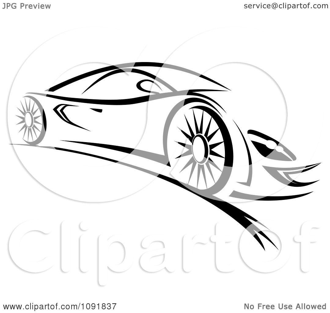 Clipart Black And White Sleek Sports Car