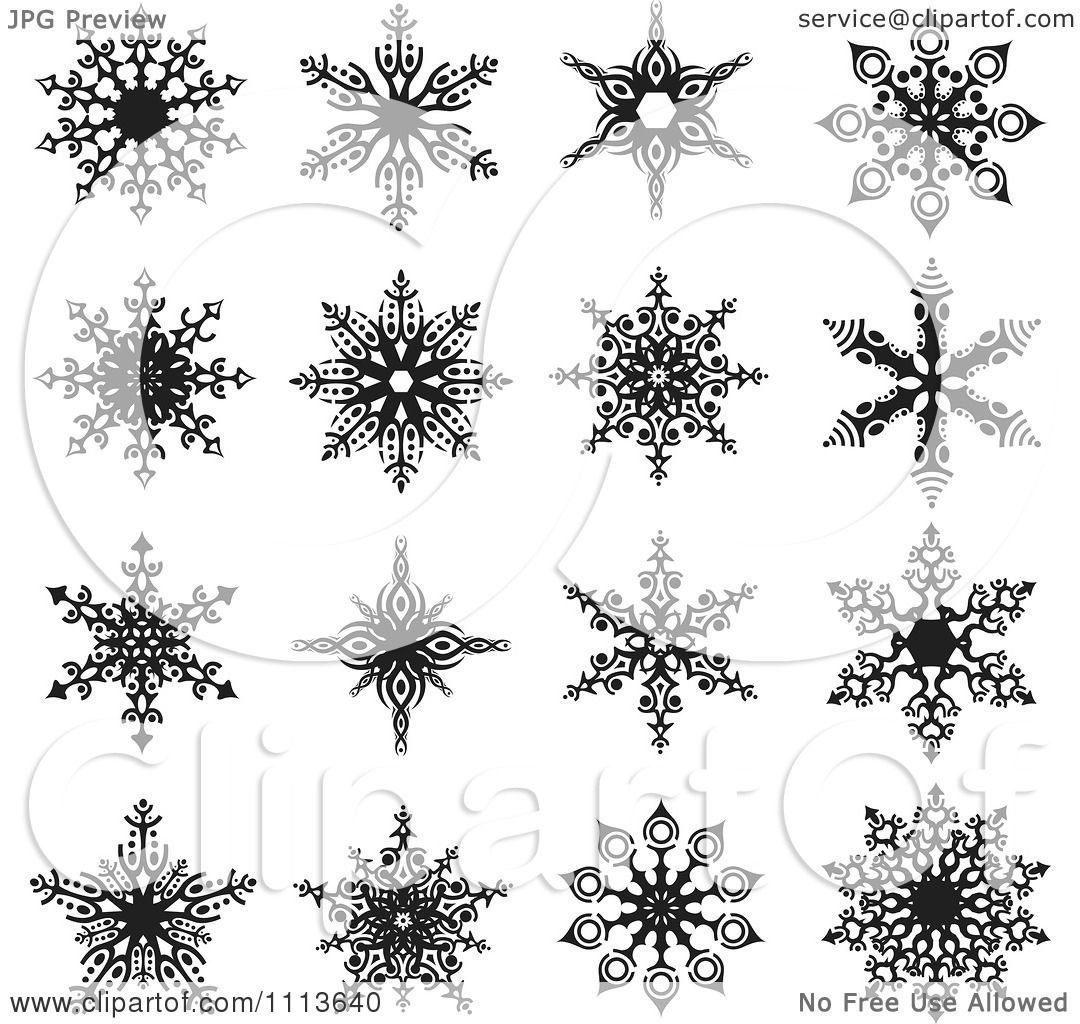 Clipart Black And White Snowflake Icons 2