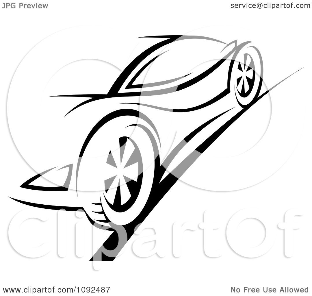 Clipart Black And White Sports Car