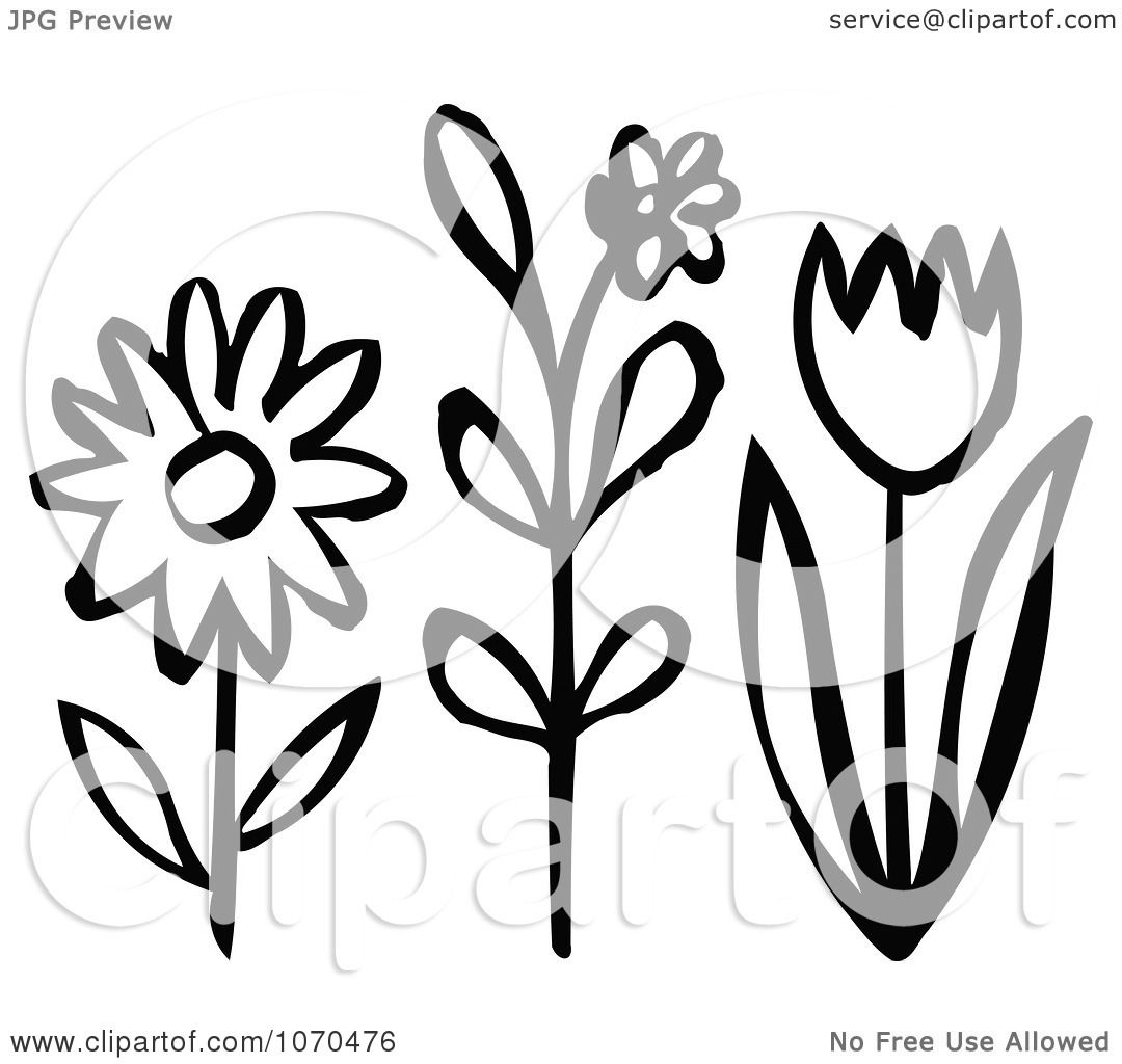 Clipart Black And White Spring Flowers