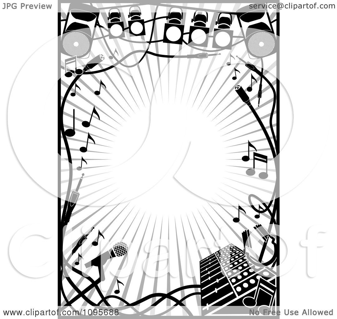 Clipart Black And White Stage Lighting And Music Frame