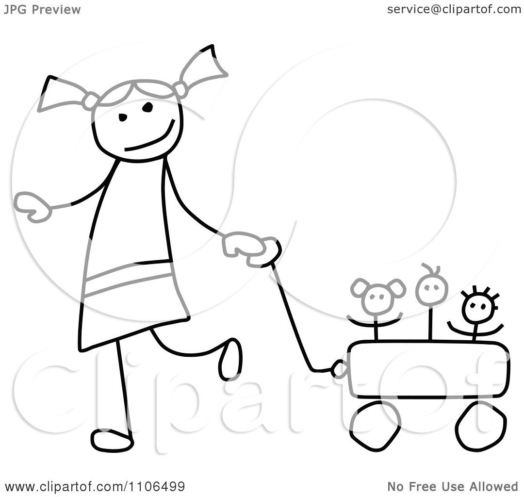 Clipart Black And White Stick Drawing Of A Happy Girl