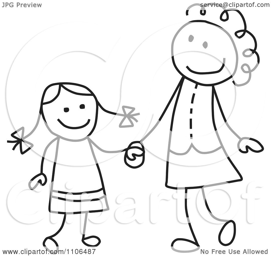 Clipart Black And White Stick Drawing Of A Happy Mother