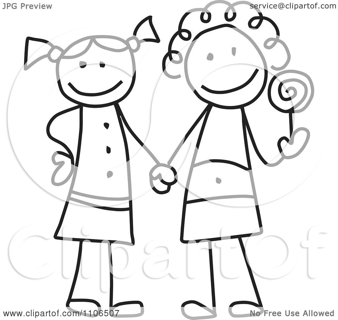 Clipart Black And White Stick Drawing Of Two Best Friend