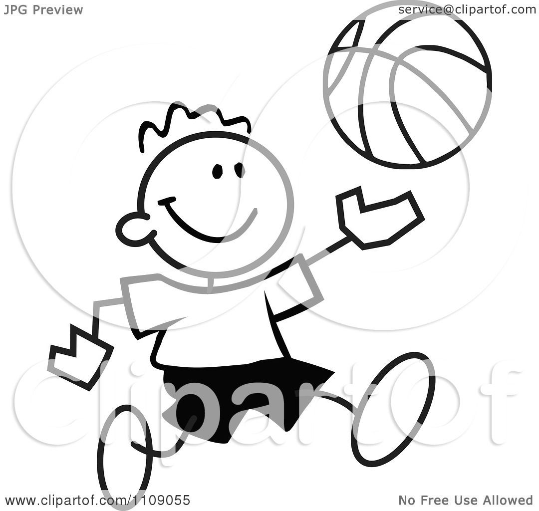 Clipart Black And White Sticker Basketball Player Boy