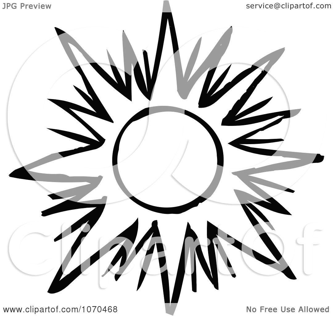 Clipart Black And White Sun 1