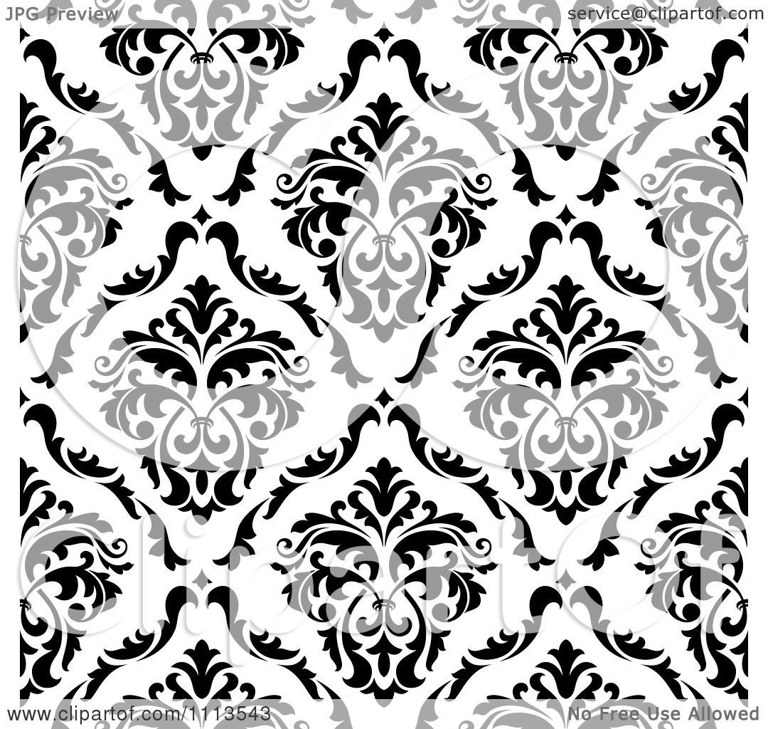 Clipart Black And White Triangular Damask Pattern Seamless Background 25