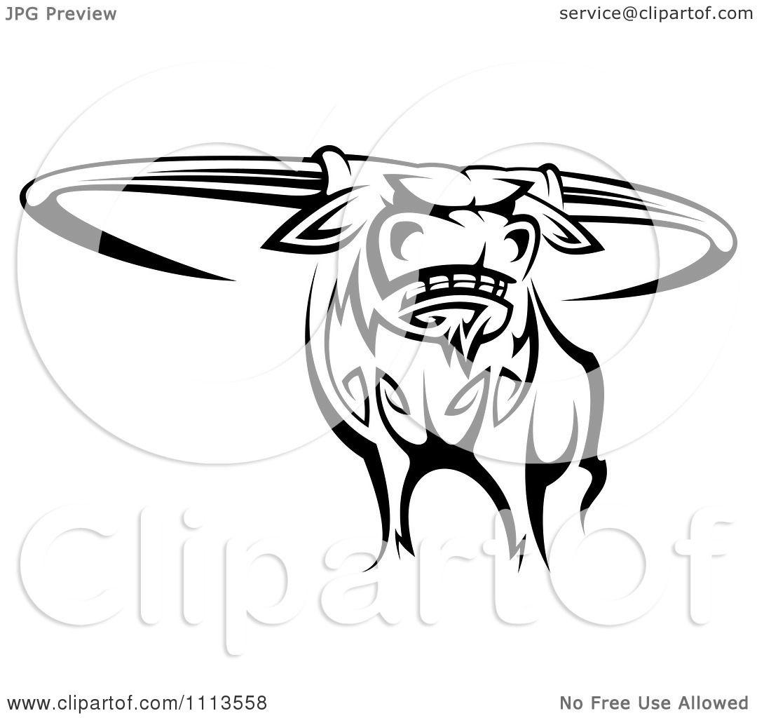 Clipart Black And White Tribal Texas Longhorn Steer Bull 2