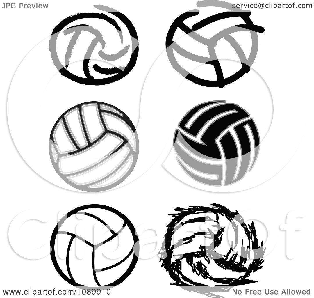 Clipart Black And White Volleyball Icons