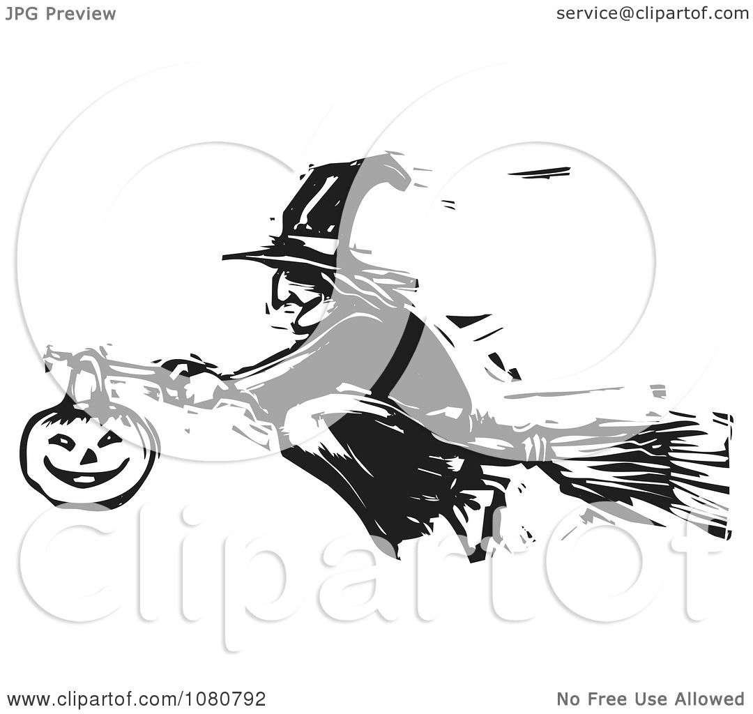 Clipart Black And White Woodcut Halloween Witch Flying On