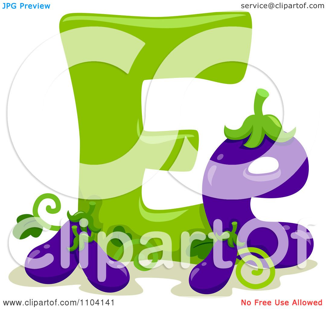 Clipart Capital And Lowercase Letter E With Eggplants