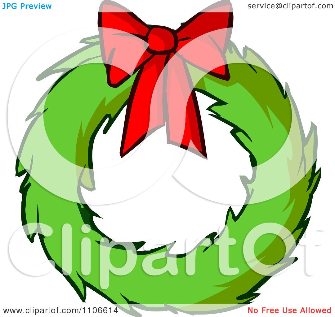 Clipart Christmas Wreath And Bow Royalty Free Vector