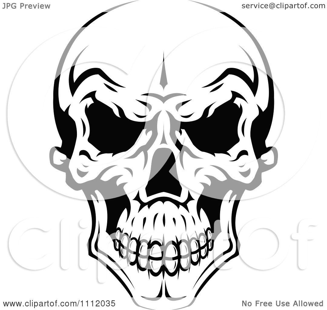 Clipart Evil Black And White Skull 2 Royalty Free Vector