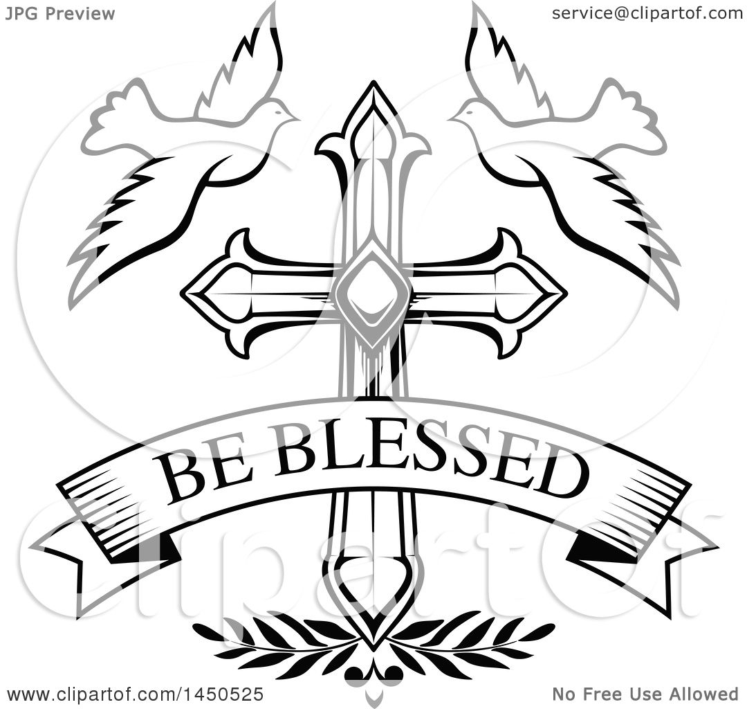 Clipart Graphic Of A Black And White Cross With Doves And Text