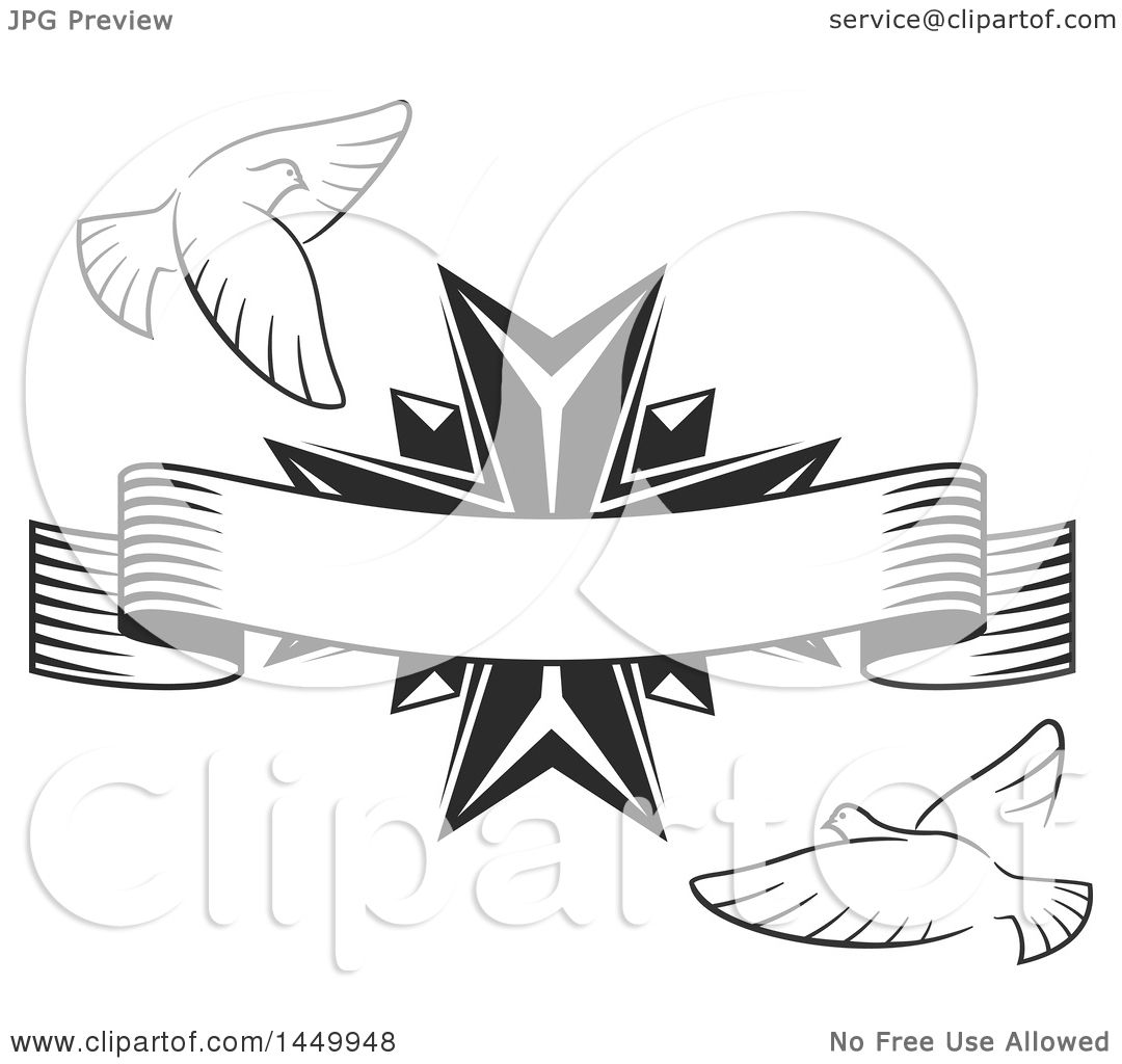Clipart Graphic Of A Black And White Easter Cross With