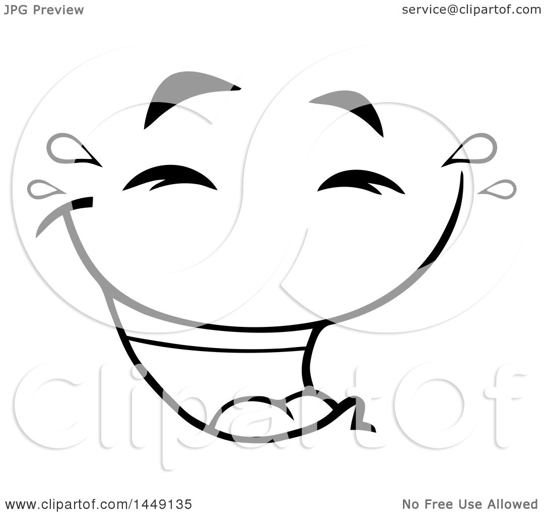 Clipart Graphic Of A Black And White Laughing And Crying