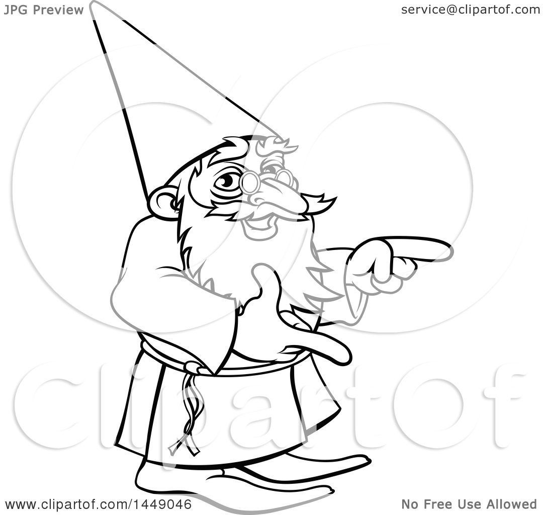 Clipart Graphic Of A Black And White Lineart Old Wizard