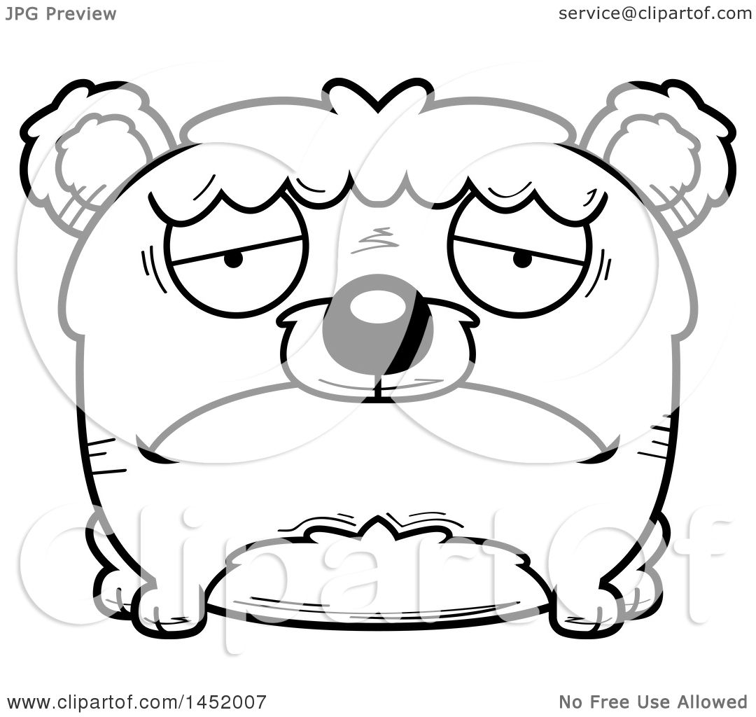 Clipart Graphic Of A Cartoon Black And White Lineart Sad