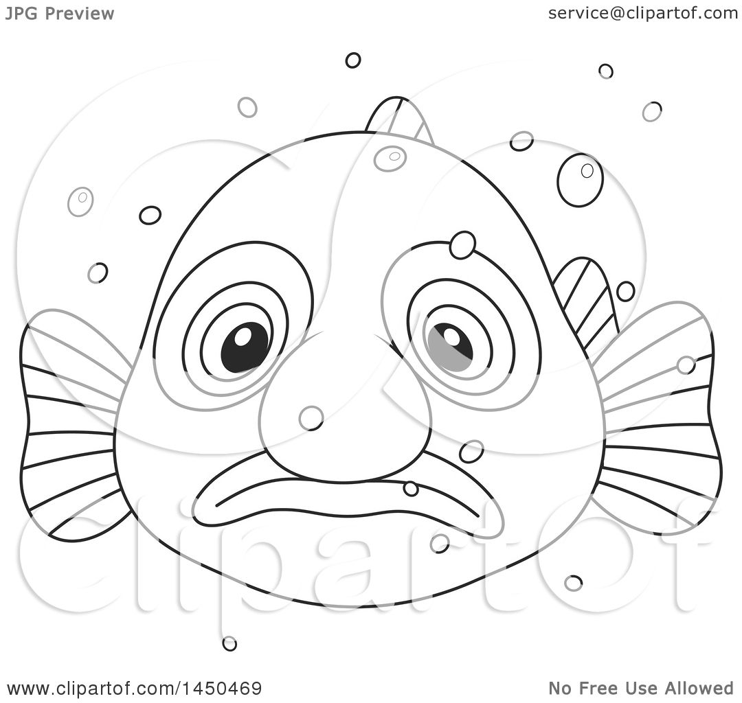 Clipart Graphic Of A Cartoon Black And White Lineart Swimming