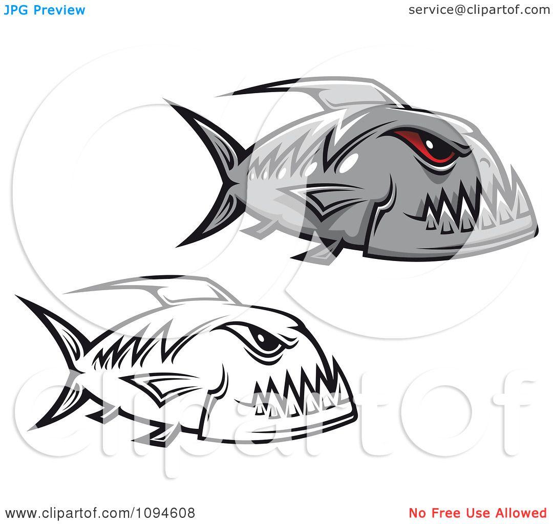 Clipart Gray And Black And White Piranha Fish
