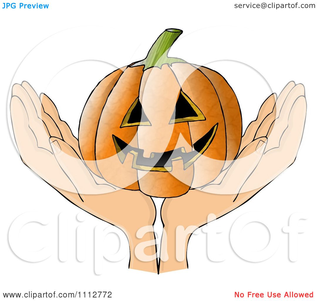 Clipart Hands Holding A Grinning Carved Halloween
