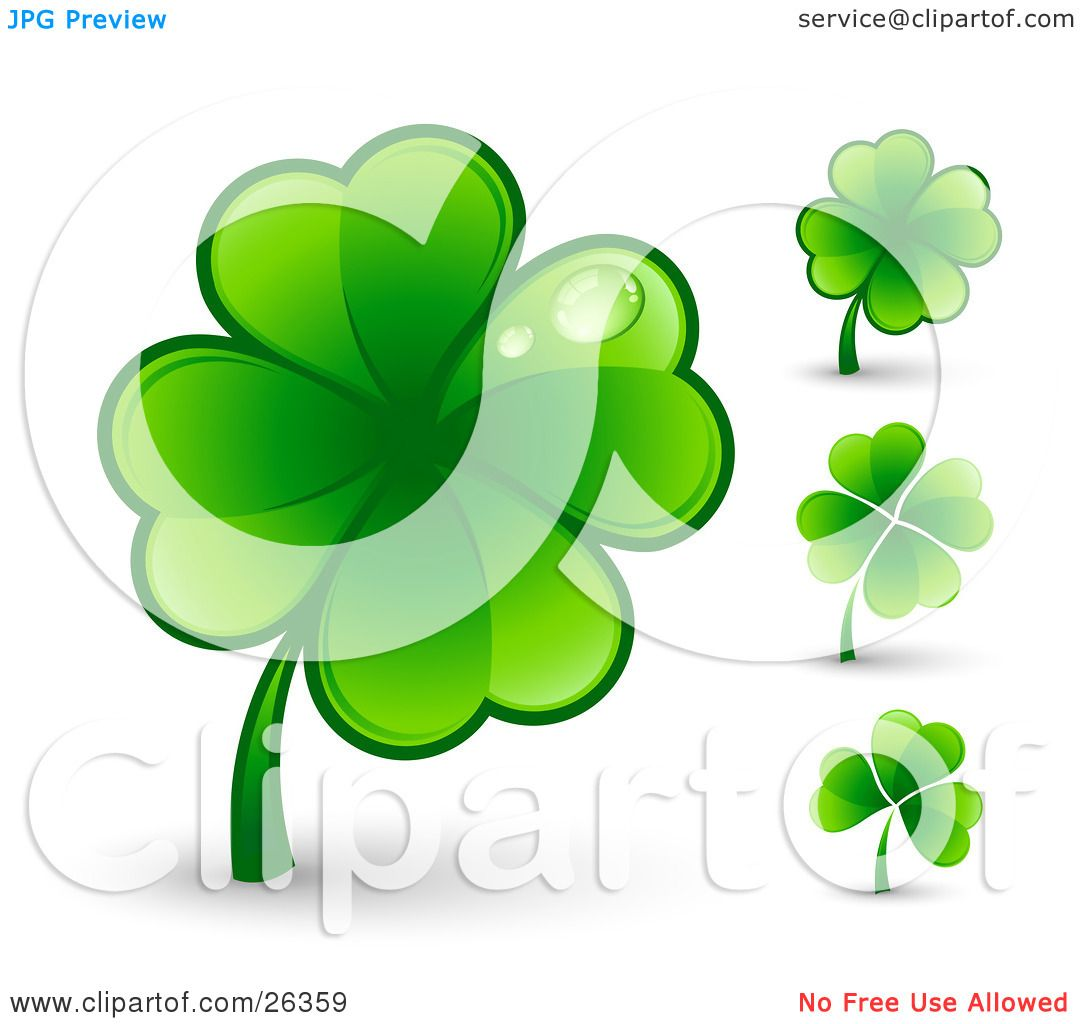 Clipart Illustration Of A Big Green Four Leaf Clover With Two Dew Drops On The Leaves Also
