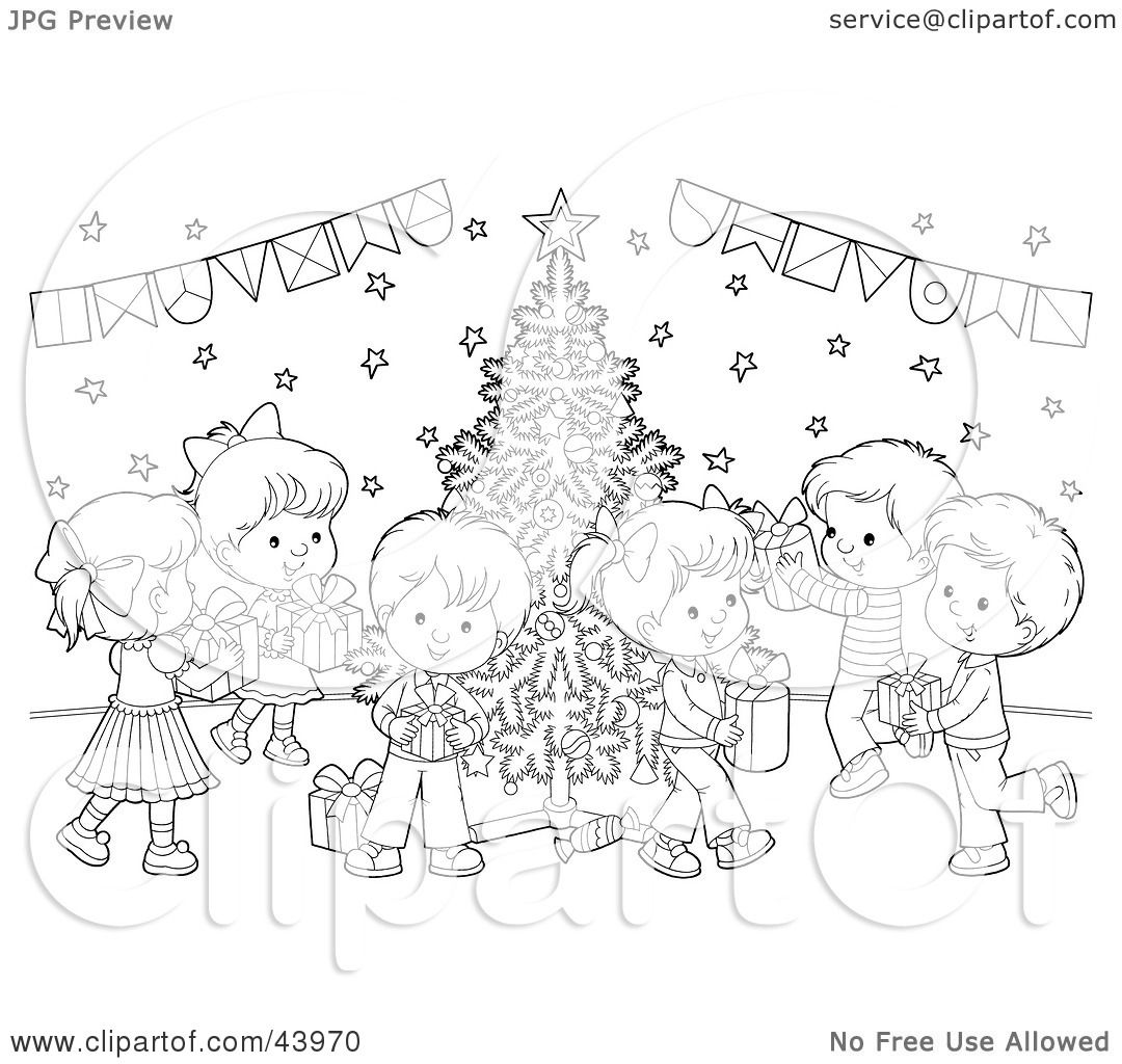 Clipart Illustration Of A Black And White Children With