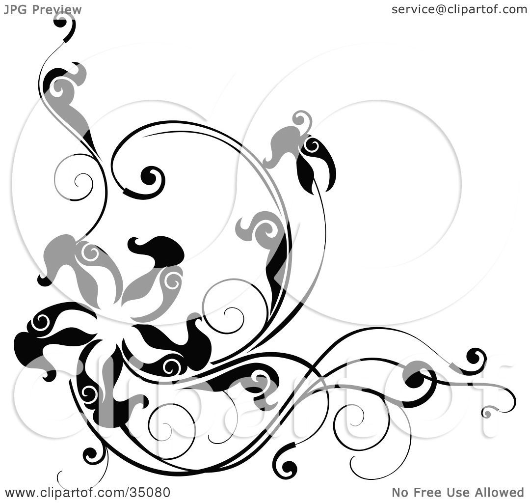 Clipart Illustration Of A Black And White Corner Design