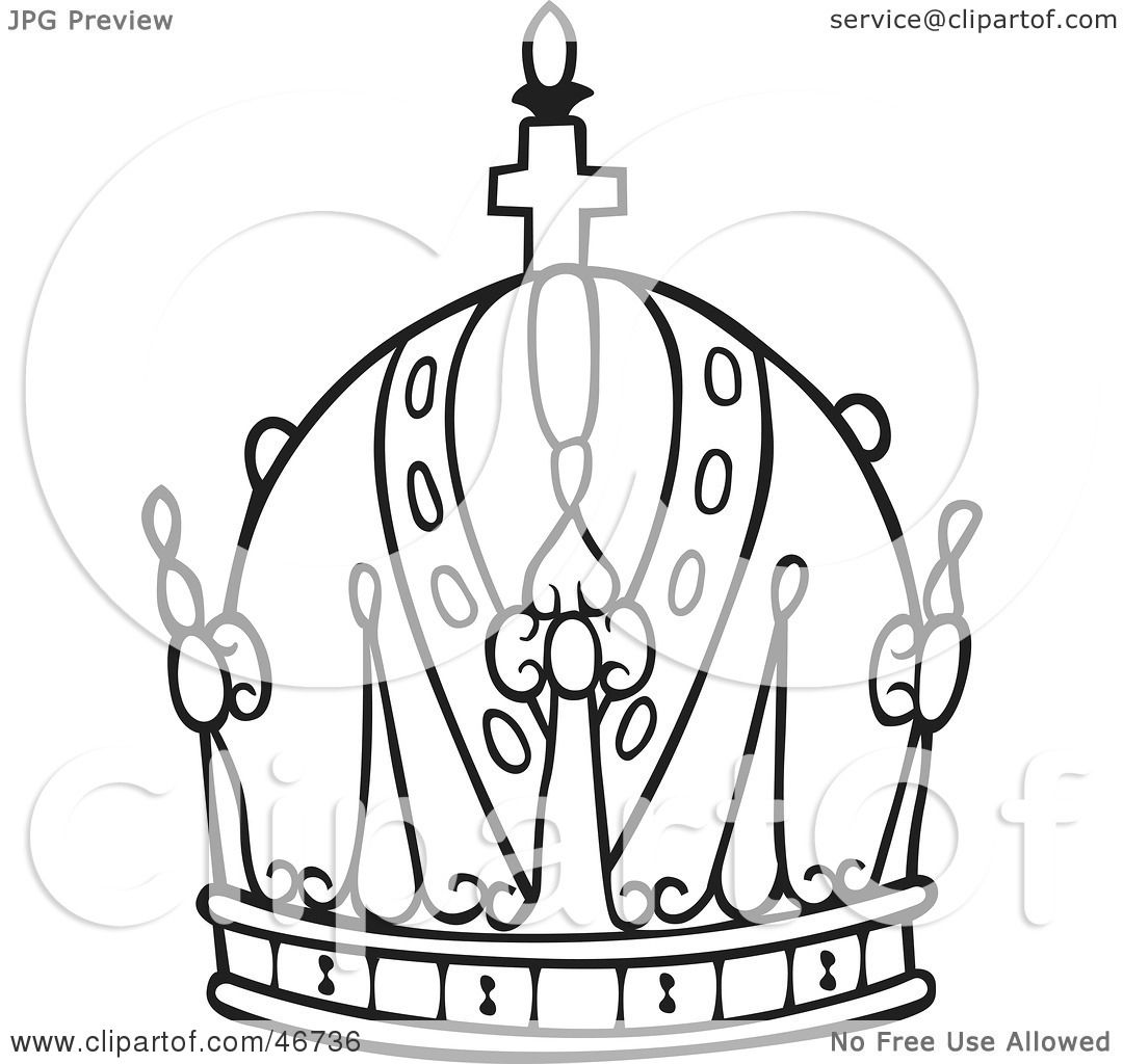 Clipart Illustration Of A Black And White Crown Rounded