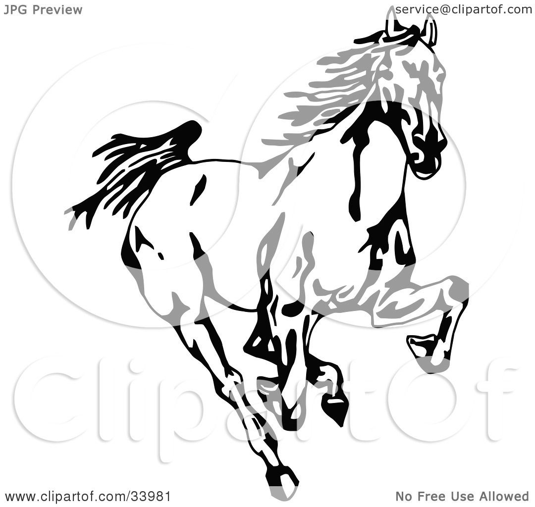 Clipart Illustration Of A Black And White Wild Mustang