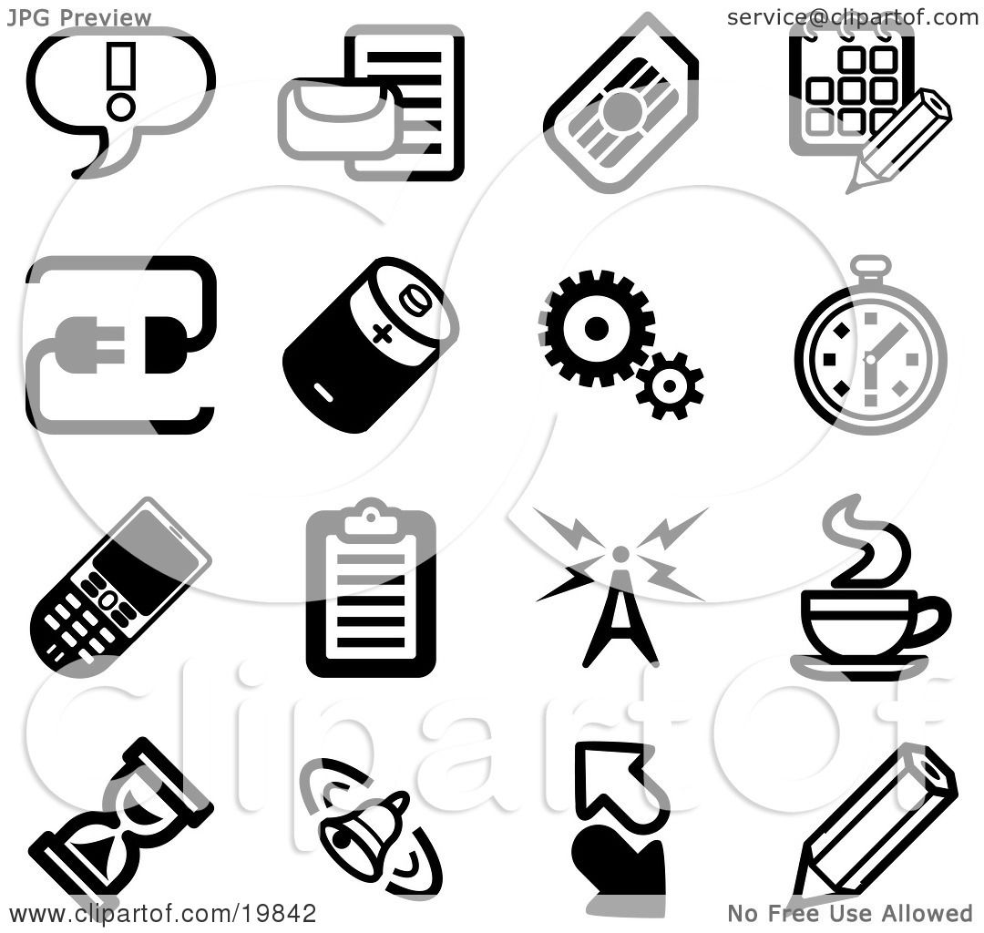 Clipart Illustration Of A Collection Of Black And White