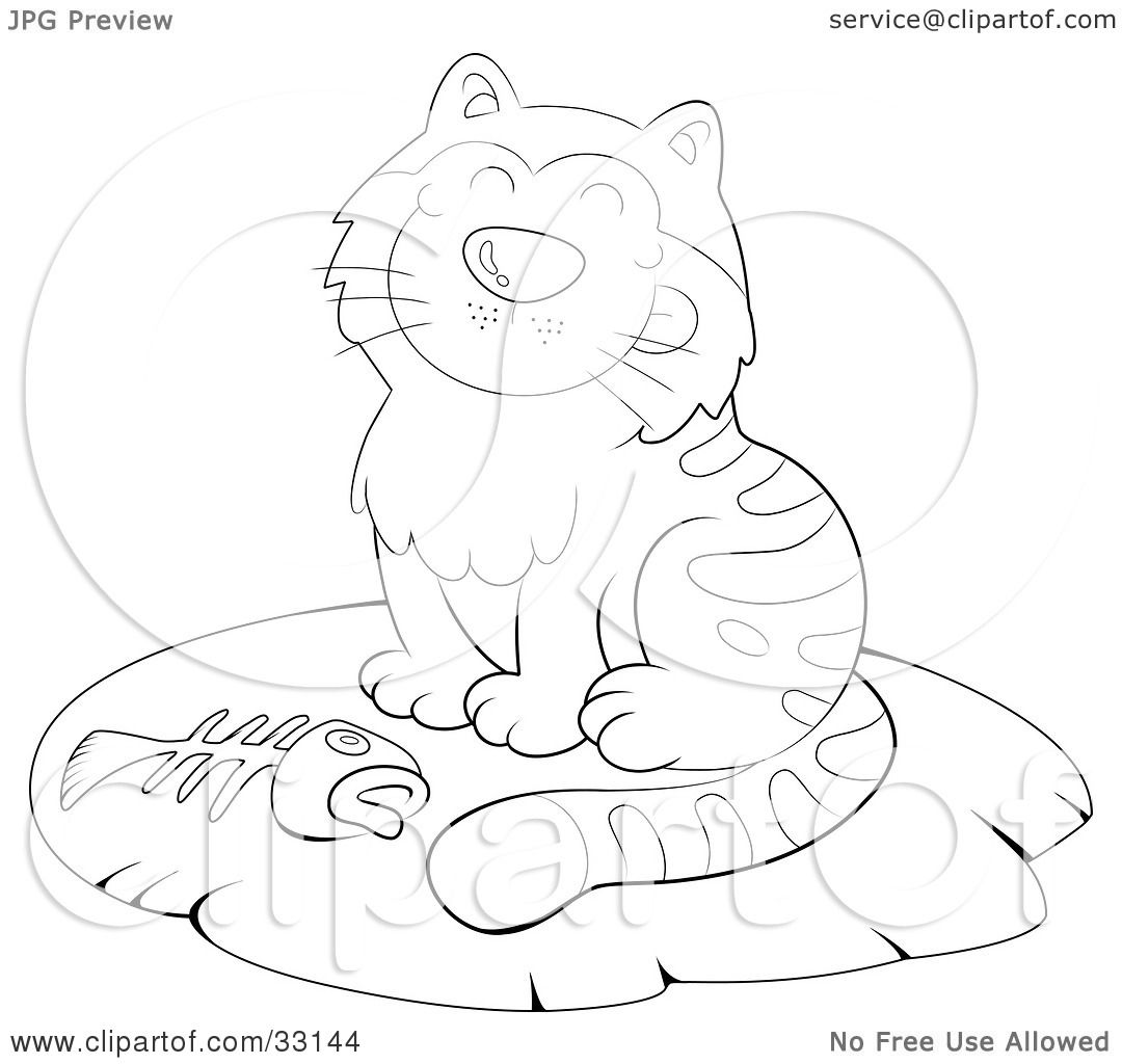 Clipart Illustration Of A Grinning Kitty Cat Sitting On A