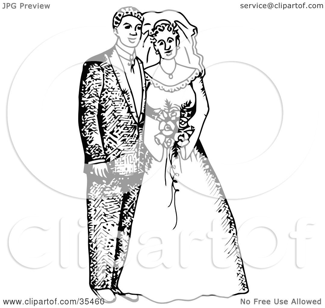 Clipart Illustration Of A Happy Bride And Groom Posing For