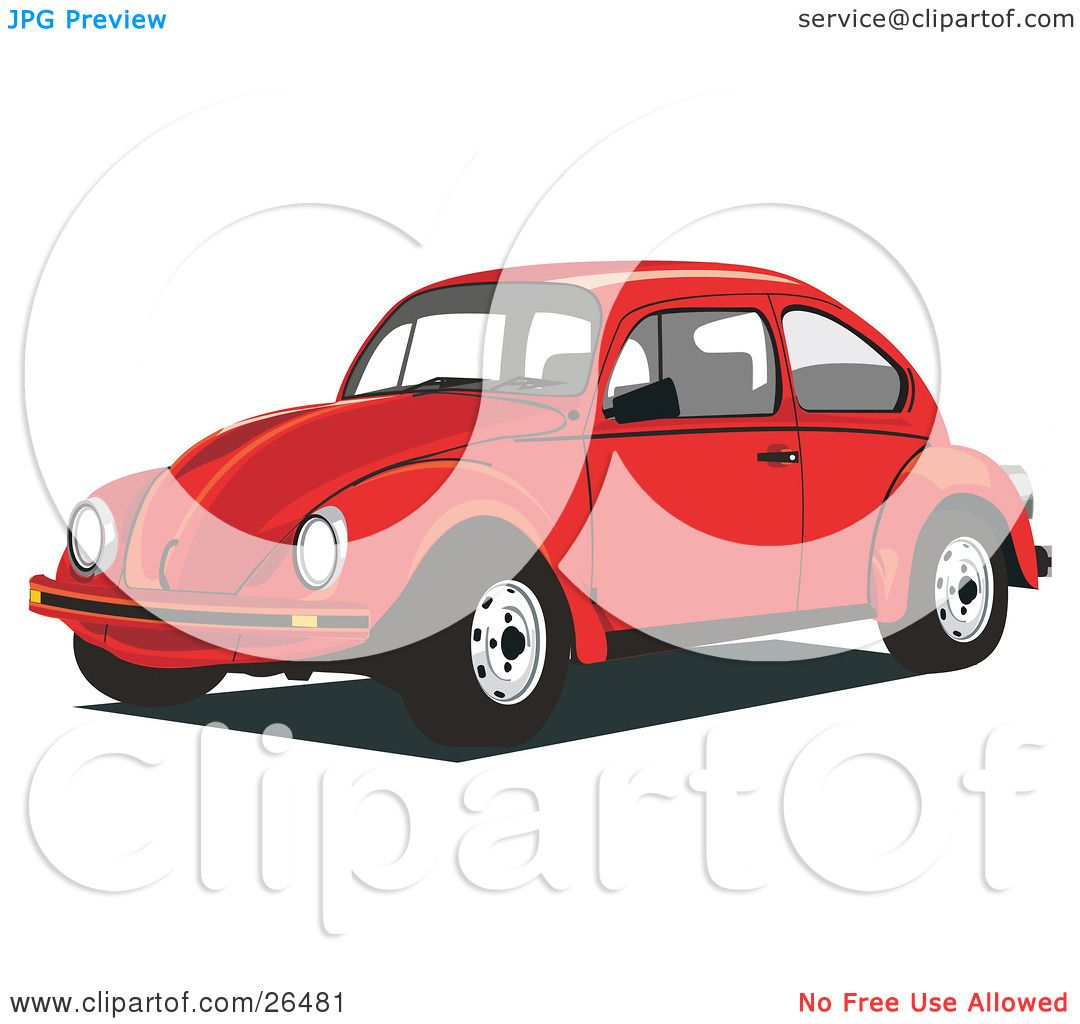 Clipart illustration red volkswagen beetle car, love bug coloring pages