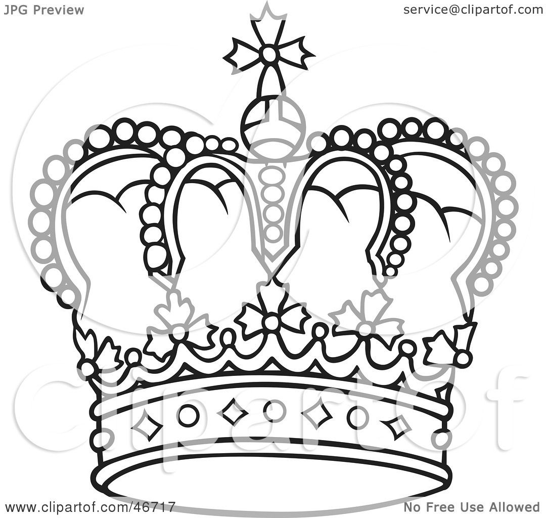 Clipart Illustration Of A Rounded And Jeweled Black And