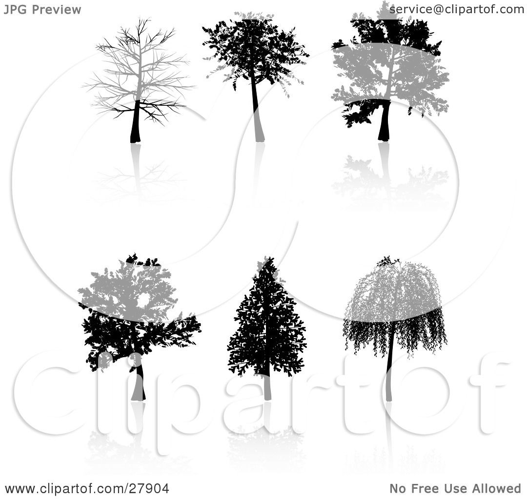 Clipart Illustration Of A Set Of Six Black Silhouetted