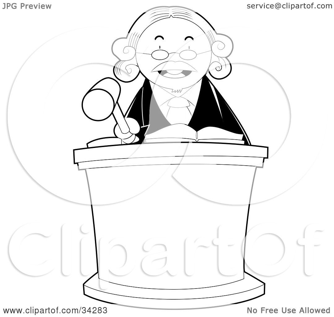 Clipart Illustration Of A Stern Male Judge Behind A Podium