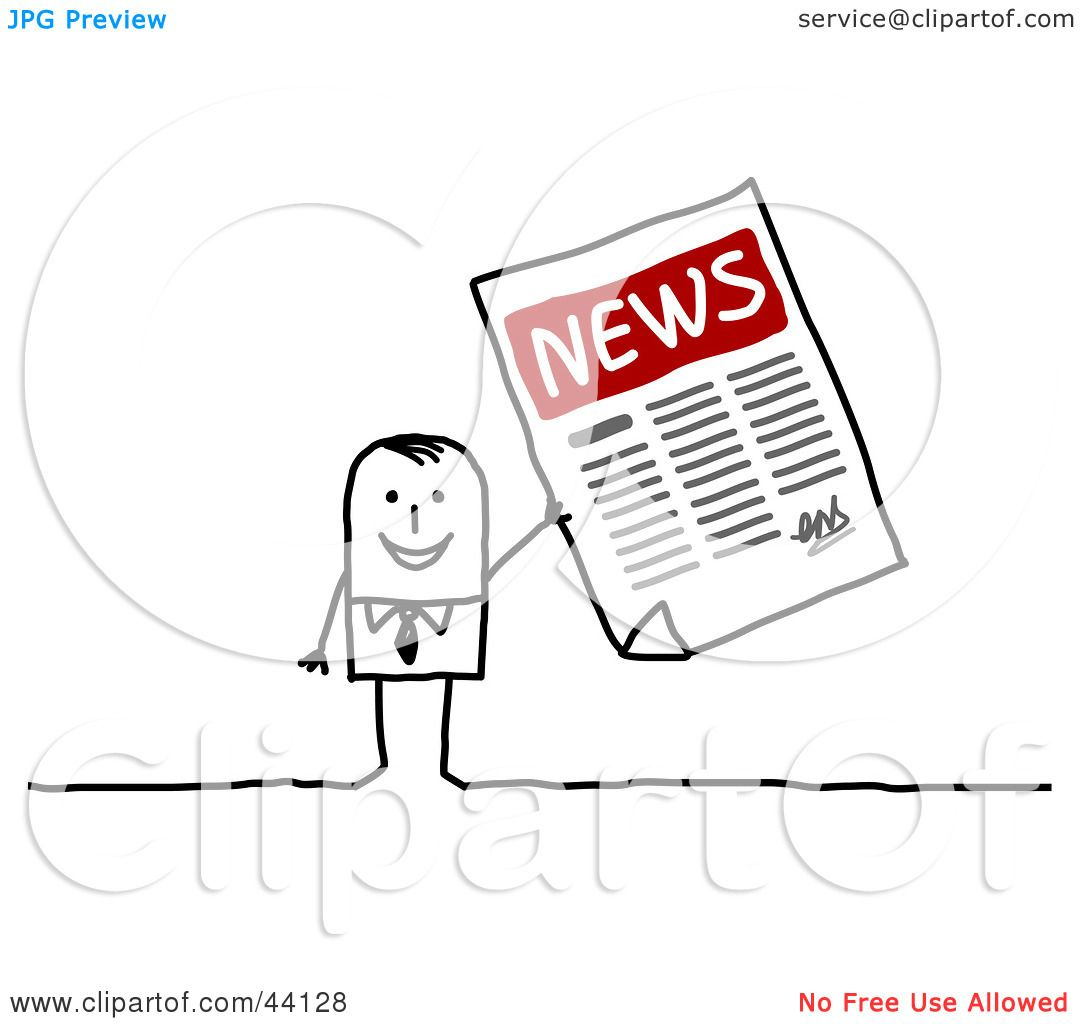 Clipart Illustration Of A Stick Businessman Holding Up An
