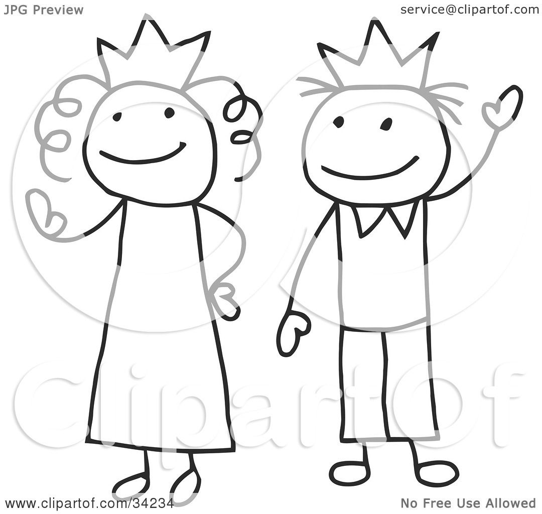 Clipart Illustration Of A Stick Queen And King Or Princess And Prince By C Charley Franzwa