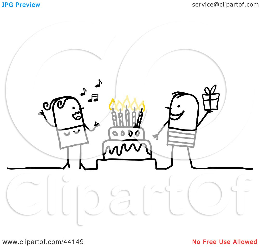 Clipart Illustration Of A Stick Woman Singing And A Man