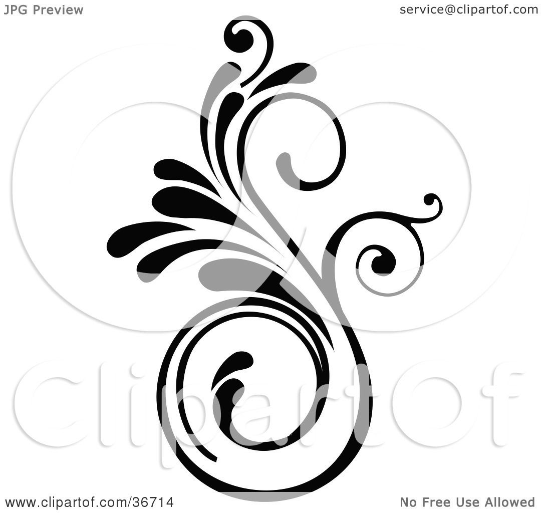 Clipart Illustration Of An Elegant Black Design Accent By Onfocusmedia