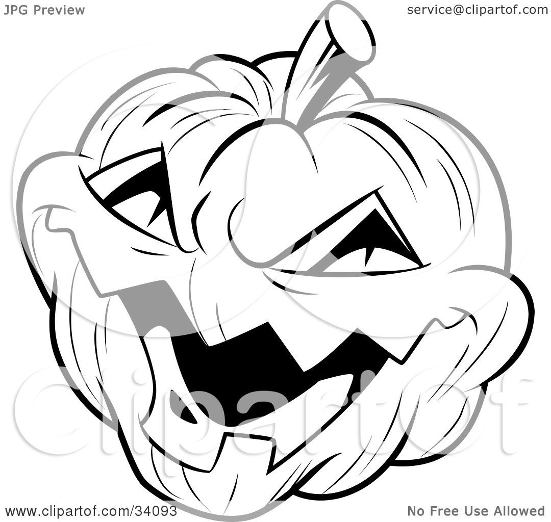 Clipart Illustration Of An Evil Laughing Carved Halloween